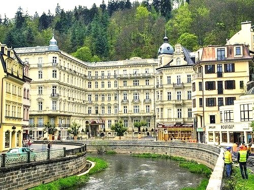 by lights2008 on Flickr.Hotels along the river in the famous spa city of Karlovy Vary, Czech Republic.