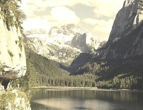 Panoramic view at Lake Gosau, Salzkammergut, Austria