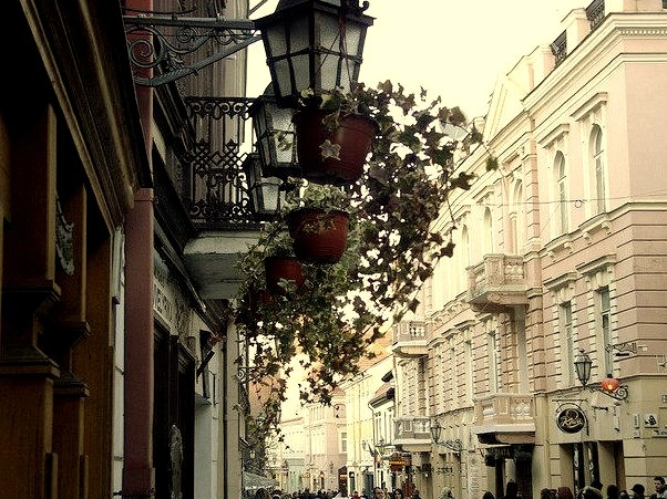 Castle Street in the Old Town of Vilnius, Lithuania