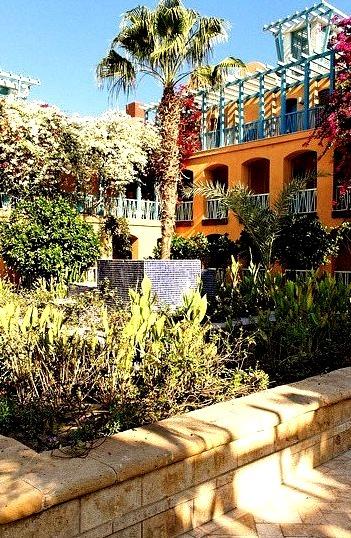 Colorful courtyard at Sheraton Hotel in El Gouna, Egypt