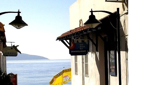 Passageway past Seagull and Moonlight Cafes in Bodrum, Turkey