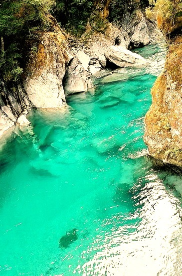 The amazing blue pools at Haast Pass, South Island, New Zealand