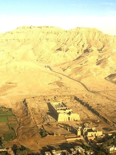Aerial view of Medinet Habu Temple and Valley of the Queens, Egypt