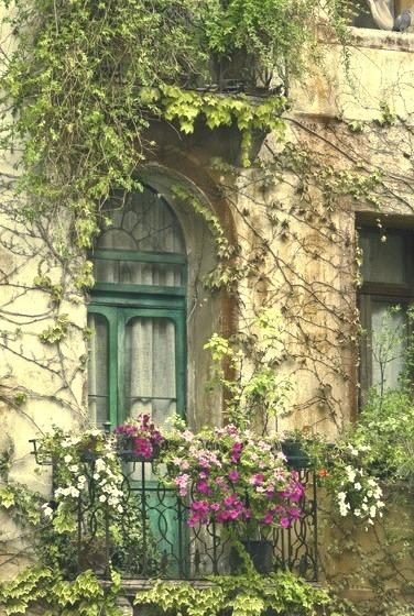 Flowered Balcony, Paris, France