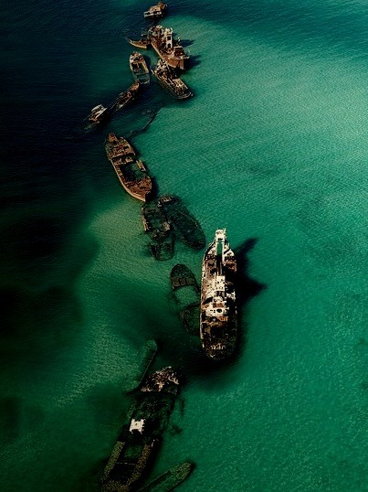 Aerial of Tangalooma Wrecks in Moreton Bay, Queensland, Australia