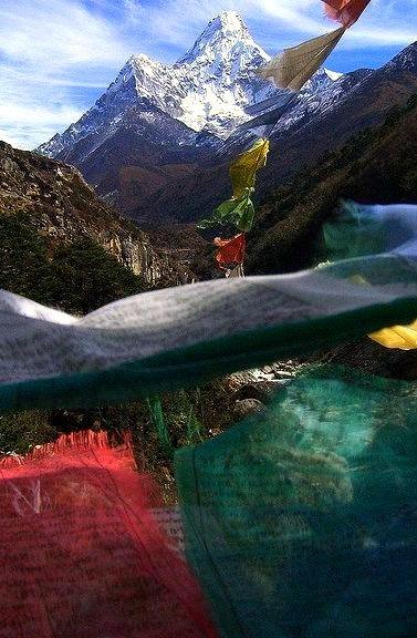 Ama Dablam seen through prayer flags, Sagarmatha, Nepal