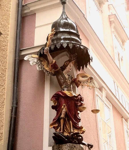 Corner sculpture on Hotel Altstadt in Salzburg, Austria