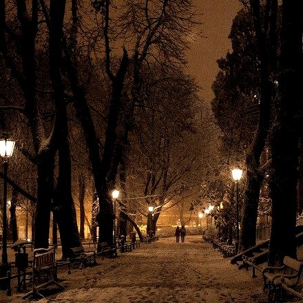 Snowy Night, Krakow, Poland