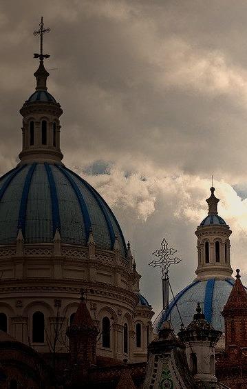 The towers of Cuenca, Ecuador