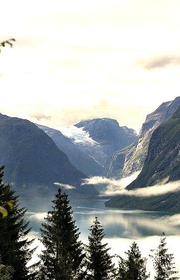 View upon the beautiful Loen Lake, Norway