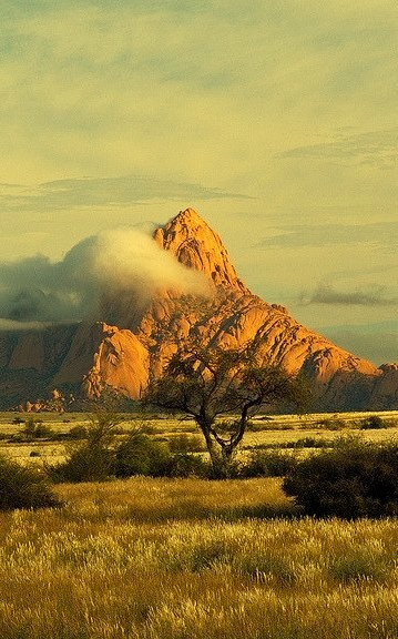 The granite peak of Spitzkoppe in the Namib desert of Namibia