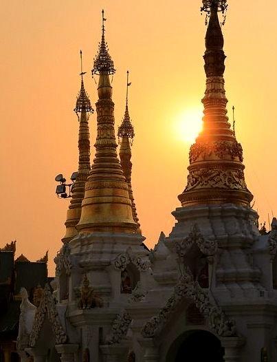 Sunset at Shwedagon Pagoda in Yangon, Myanmar