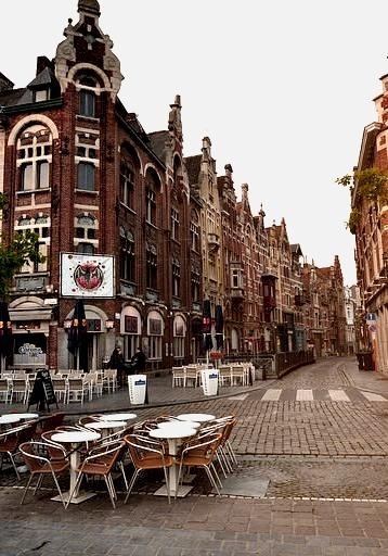 Vrijdagmarkt urban architecture in Ghent / Belgium
